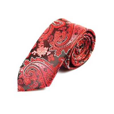 6cm Burgundy, Ferrari Red, White and Red Polyester Paisley Skinny Tie