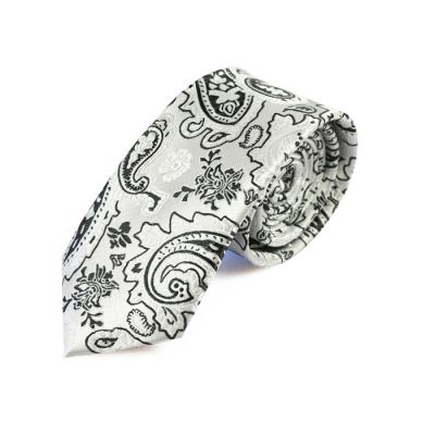 6cm SeaShell and Black Eel Polyester Paisley Skinny Tie