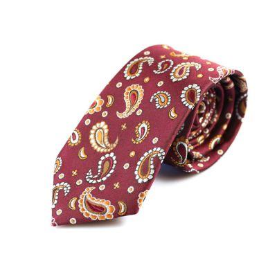 6cm Mahogany, Firebrick and SeaShell Polyester Paisley Skinny Tie