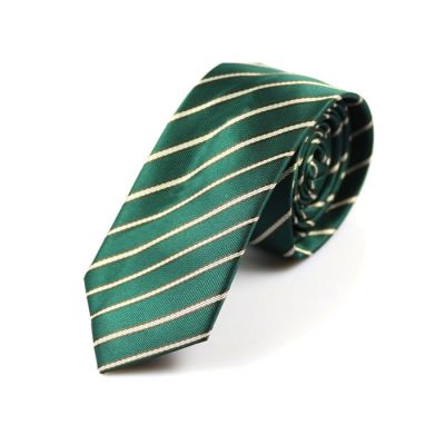 6cm Teal, White and Black Polyester Striped Skinny Tie
