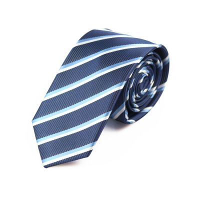 6cm White, Pale Blue Lily and Midnight Blue Polyester Striped Skinny Tie