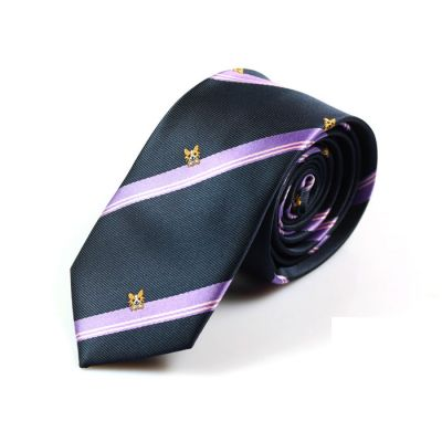 6cm Midnight Blue, Grayish Turquoise, Misty Rose, School Bus Yellow and White Polyester Striped Skinny Tie