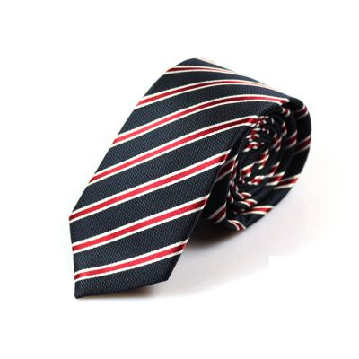 6cm Midnight, SeaShell and Midnight Blue Polyester Striped Skinny Tie