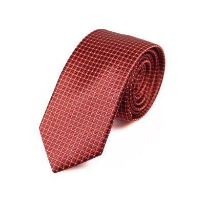 6cm Midnight, Ferrari Red and White Polyester Checkered Skinny Tie