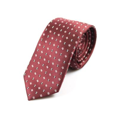 6cm Burgundy, Pink Bow, Night and White Polyester Novelty Skinny Tie