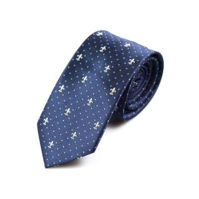 6cm Midnight Blue and White Polyester Polka Dot Skinny Tie