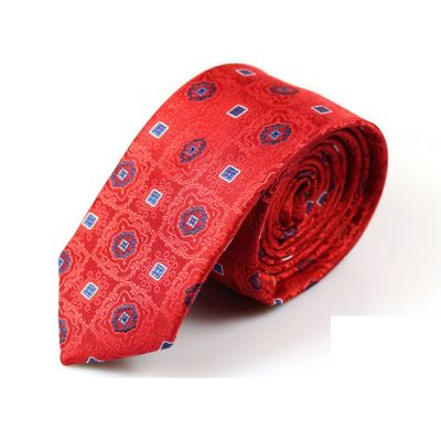 6cm Red, Earth Blue and White Polyester Paisley Skinny Tie