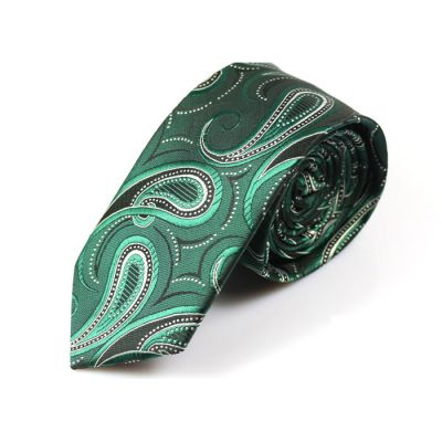 6cm Teal, Dark Forest Green, Black and White Polyester Paisley Skinny Tie