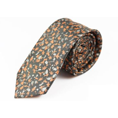 6cm Chestnut, Black Eel and Gray Cloud Polyester Novelty Skinny Tie
