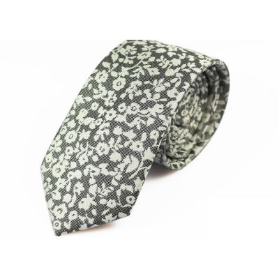 6cm Black Eel and SeaShell Polyester Novelty Skinny Tie