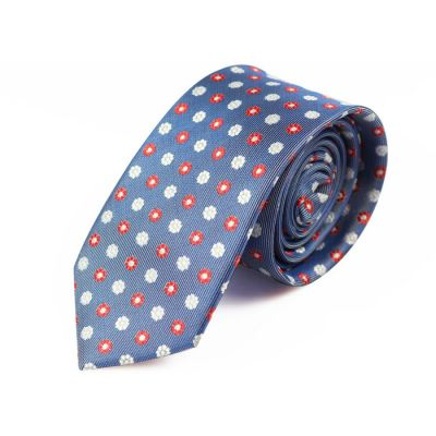 6cm Navy Blue, White and Red Polyester Floral Skinny Tie