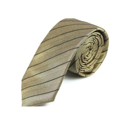 6cm Ginger Brown and Black Eel Cotton Striped Skinny Tie