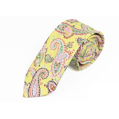 6cm Yellow, Peach, Zombie Green, Night and Scarlet Cotton Paisley Skinny Tie