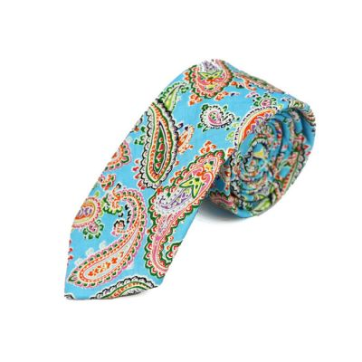 6cm Blue, Peach, Black Eel and Nebula Green Cotton Paisley Skinny Tie