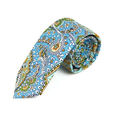 6cm Blue, Venom Green, SeaShell and Mint green Cotton Paisley Skinny Tie