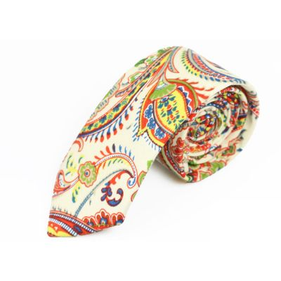 6cm White, Yellow, Venom Green, Red and Teal Cotton Paisley Skinny Tie