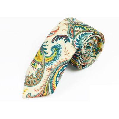 6cm Yellow, Teal, SeaShell and Champagne Cotton Paisley Skinny Tie