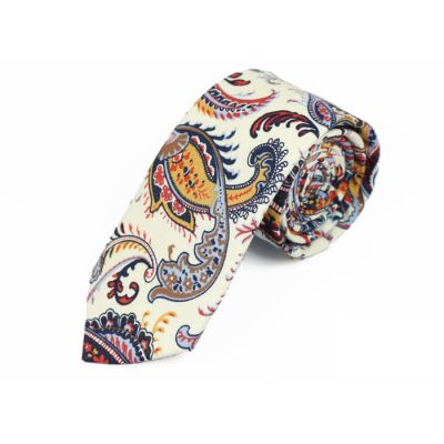 6cm White, Navy Blue, Rubber Ducky Yellow and Brown Cotton Paisley Skinny Tie