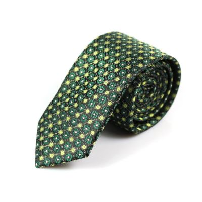 6cm Oak Brown, Brass and Dark Forest Green Polyester Floral Skinny Tie
