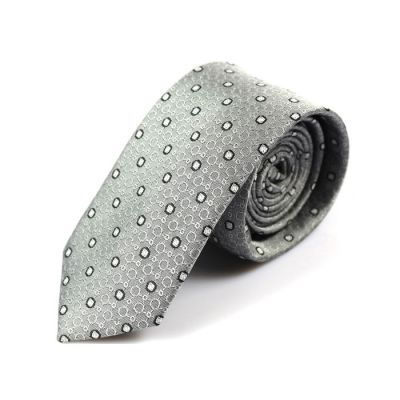 6cm Platinum, Gray Cloud and Gray Polyester Novelty Skinny Tie