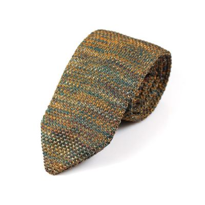 7cm Sandy Brown and Blue Whale Knit Striped Skinny Tie