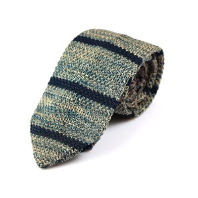 7cm Black, Blue Whale and Brass Knit Striped Skinny Tie