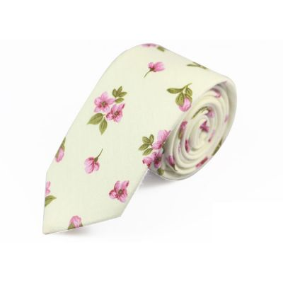 6cm SeaShell, Dark Salmon and Oak Brown Cotton Floral Skinny Tie