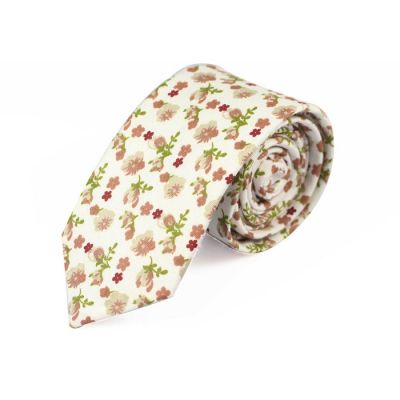 6cm SeaShell, Oak Brown and Dark Salmon Cotton Floral Skinny Tie