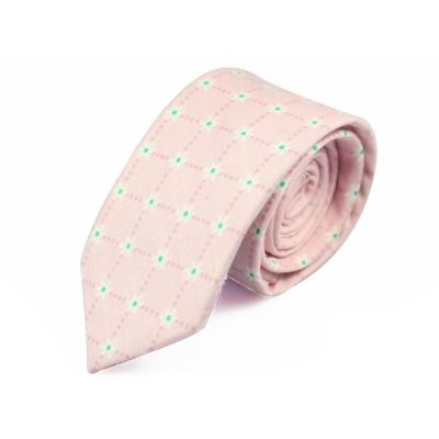6cm Pink Bubblegum, Mint green and White Cotton Floral Skinny Tie