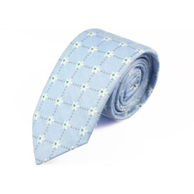 6cm Blue Hosta, White and Green Cotton Floral Skinny Tie