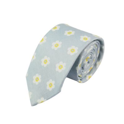 6cm Lilac, Brass and White Cotton Floral Skinny Tie