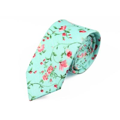 6cm Blue Zircon, Pearl and Green Cotton Floral Skinny Tie