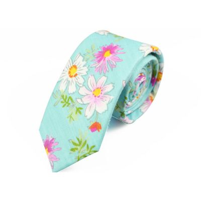 6cm Mint green, Dark Salmon, White and Moccasin Cotton Floral Skinny Tie