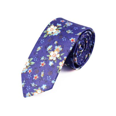 6cm Navy Blue, SeaShell, Dark Salmon and Pumpkin Orange Cotton Floral Skinny Tie