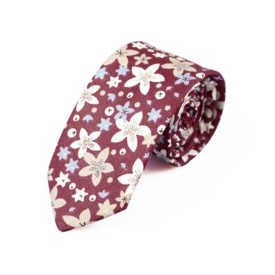 6cm Purple Flower, Grape and SeaShell Cotton Floral Skinny Tie