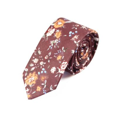 6cm Pale Violet Red, SeaShell and Pumpkin Orange Cotton Floral Skinny Tie