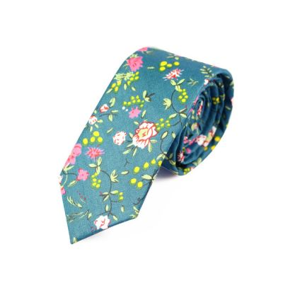 6cm Windows Blue, Pearl and Moccasin Cotton Floral Skinny Tie