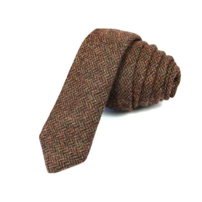 5cm Blood Red and Mocha Cotton Plaid Skinny Tie