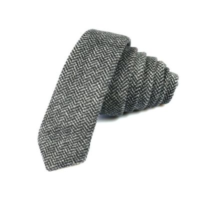 5cm Gray Goose and Black Eel Cotton Plaid Skinny Tie