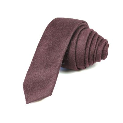 5cm Eggplant Cotton Plaid Skinny Tie