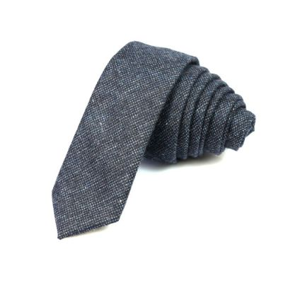 5cm Steel Blue Cotton Solid Skinny Tie