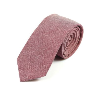6cm Valentine Red Cotton Solid Skinny Tie