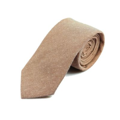 6cm Champagne Cotton Solid Skinny Tie