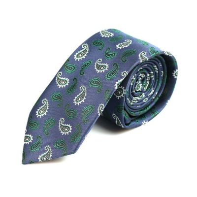 6cm Grape, White and Army Brown Polyester Paisley Skinny Tie
