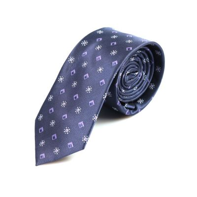 6cm Midnight Blue and White Polyester Novelty Skinny Tie