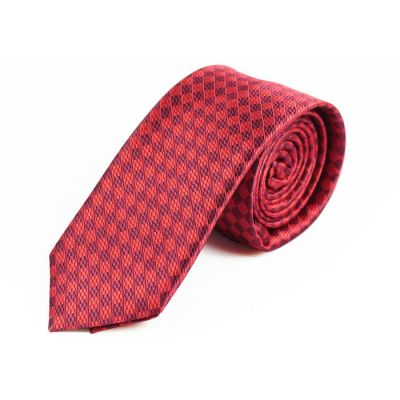 6cm Puce and Burgundy Polyester Striped Skinny Tie