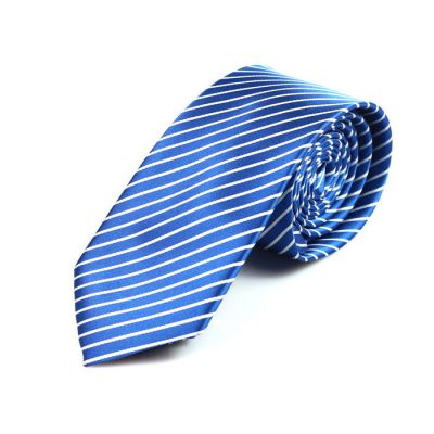 6cm Dodger Blue and White Polyester Striped Skinny Tie