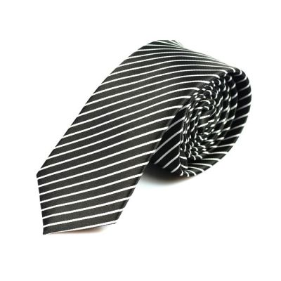 6cm Black Eel and White Polyester Striped Skinny Tie