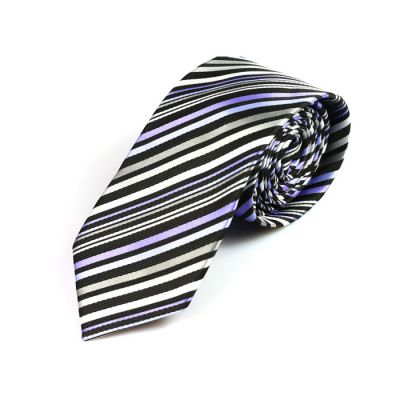 6cm Purple Sage Bush, Black and White Polyester Striped Skinny Tie