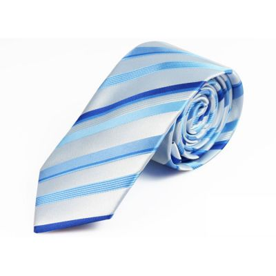 6cm Purple, Dark Violet, Pale Blue Lily and Day Sky Blue Polyester Striped Skinny Tie